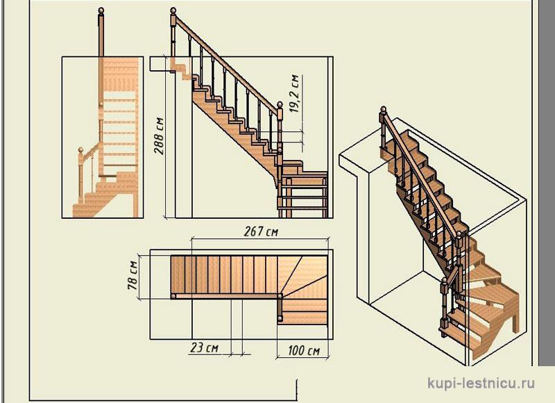 Деревянная лестница своими руками с поворотом на