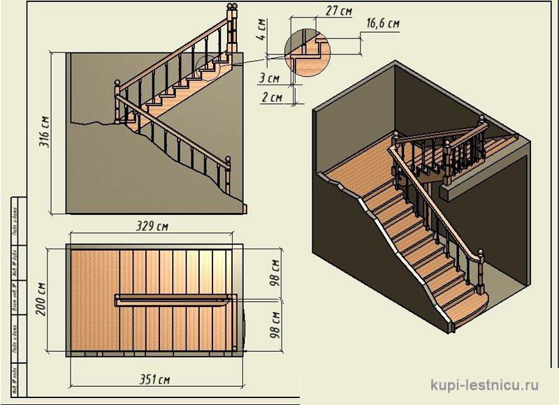 Лестница с площадкой на второй этаж из дерева чертежи